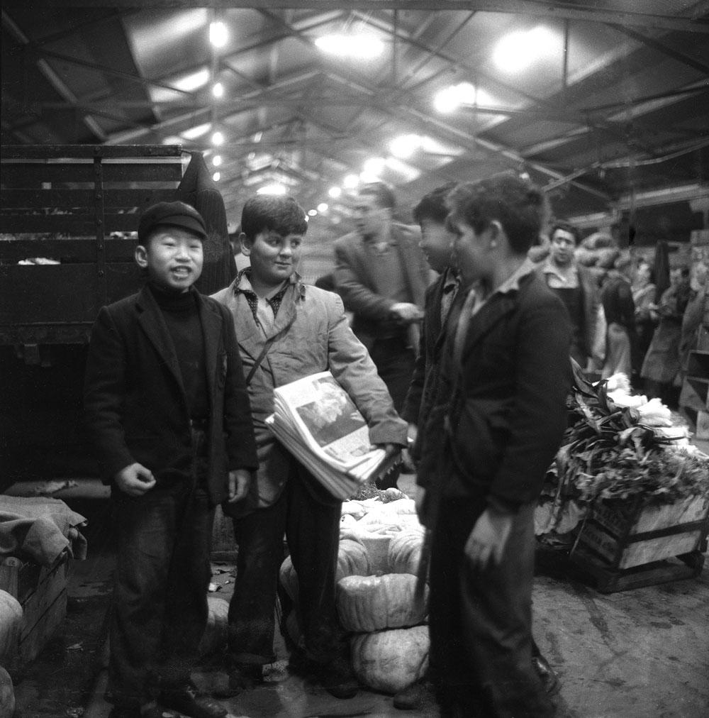 Paper boy, Queen Victoria Markets, 1956