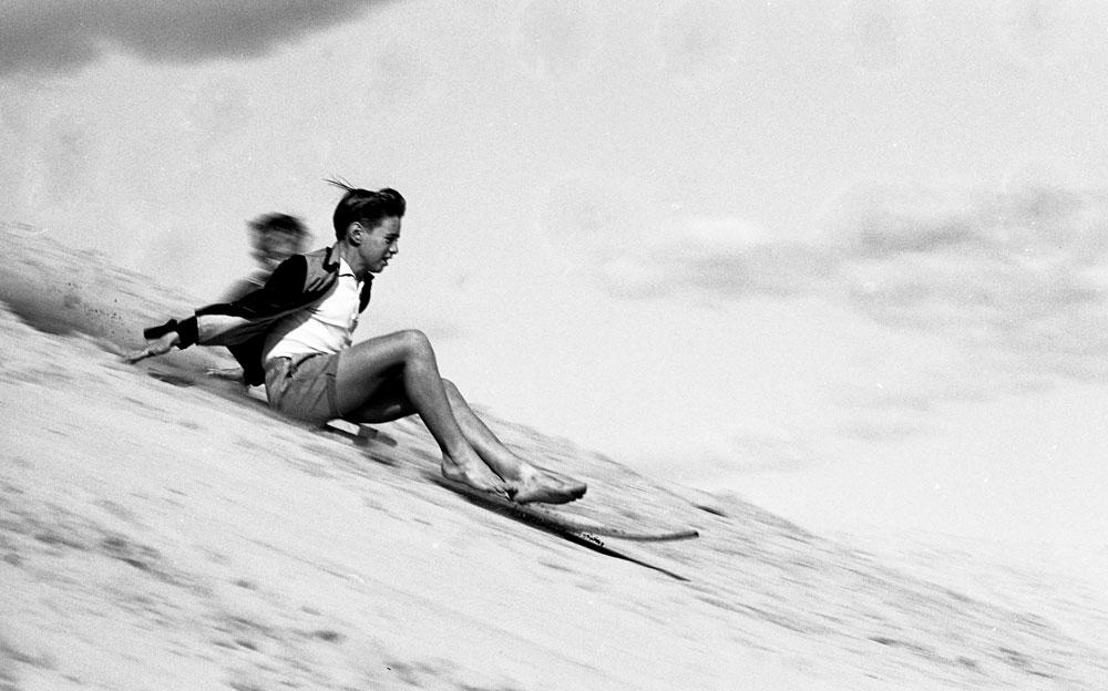 Sand skiing, Cronulla, 1963