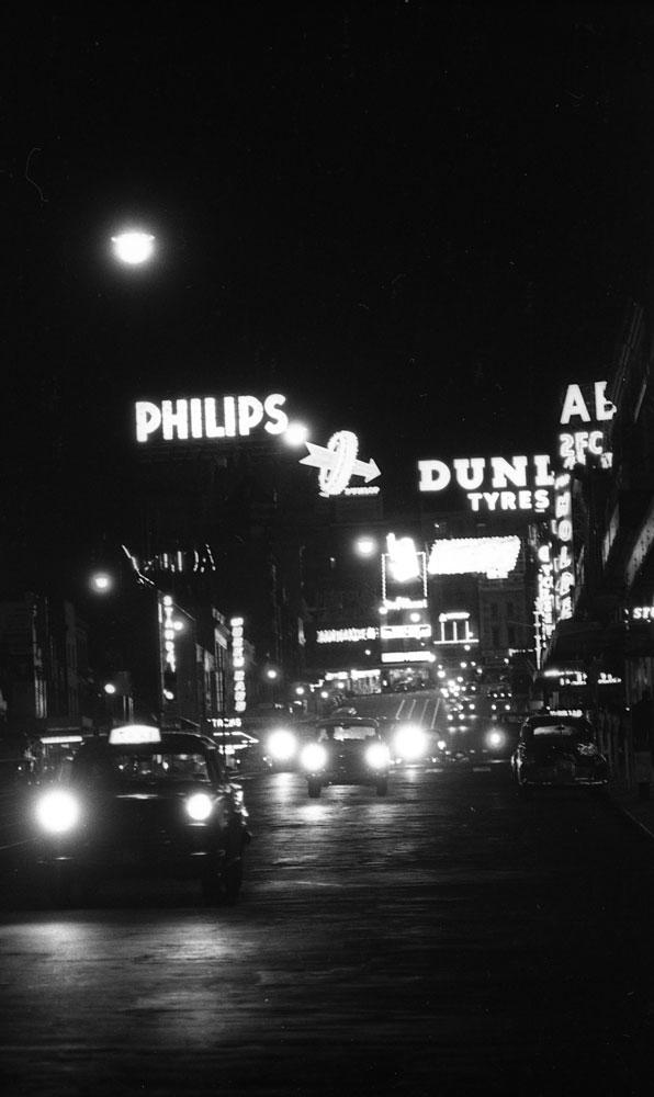 William Street Sydney at night c. 1962