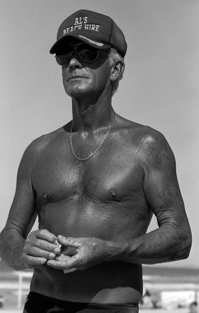 Al Baldwin known as the 'Suntan Man' Gold Coast, Queensland, c. 1995
